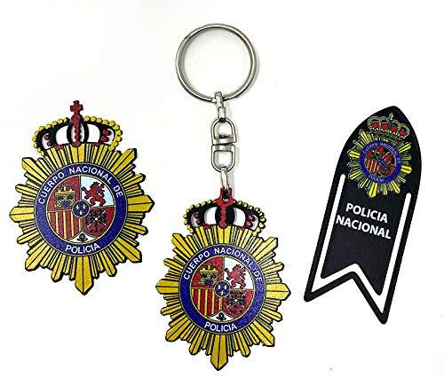 Pack artículos Policia Nacional de forja ,llavero,marca páginas e iman de nevera.