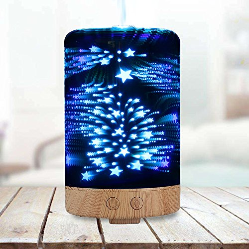 POLENNON Glass Humidifier 100ml Aromatherapy Essential Oil Diffuser Electric with 7 Color Changing Starry LED Night Light