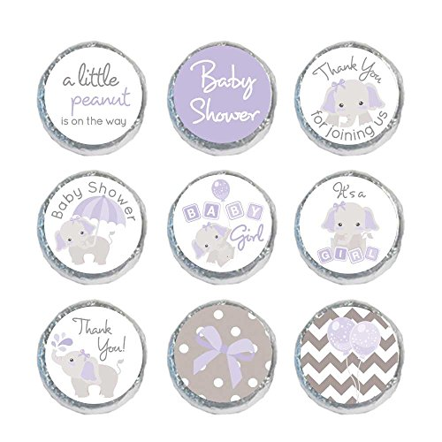 324 Mini Candy Stickers Girl Baby Shower Favor Gray Elephant Labels Tiny 0.75 Inch (Purple)
