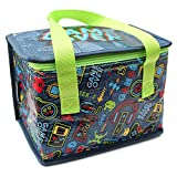 Fashion Stationery Kids Boys Fold Up Lunch Box Bag with Gamer Console Design on Navy Blue Insulated Cooler