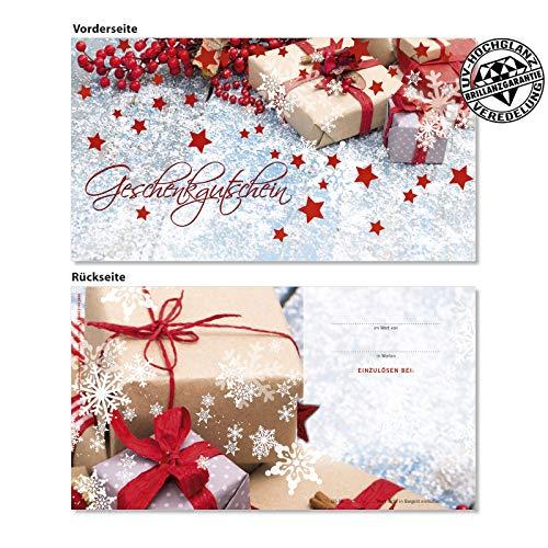 50 hochwertige Gutscheinkarten Geschenkgutscheine. Gutscheine für Weihnachten. Weihnachtsgutschein für Kunden. Vorderseite hochglänzend. X1298