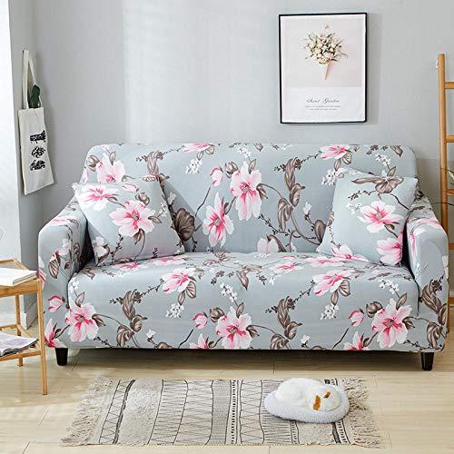 QRTQ Funda de sofá Fundas para sillas Poliéster Elástica Fundas sillas Impresión Elástica Funda para Sofá Chaise Longue en Forma de L (Gris-Azul,1 plazas: 90-140cm)