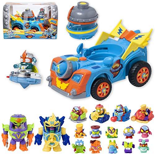 SuperThings Power Machines – Kazoom Racer y Pack Sorpresa 16 Sets | Contiene Vehículo Kid Kazoom, 10 sobres One Pack, 4 Power Jet y 2 PowerBot | Juguetes y Regalos para Niños Cumpleaños