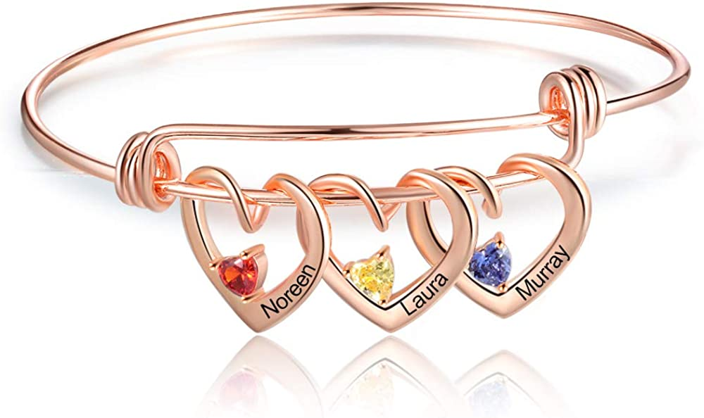 Custom Name Bracelets with 3 Hearts Simulated Birthstones Free Engraved Personalized Bangle Bracelets for Women Girls
