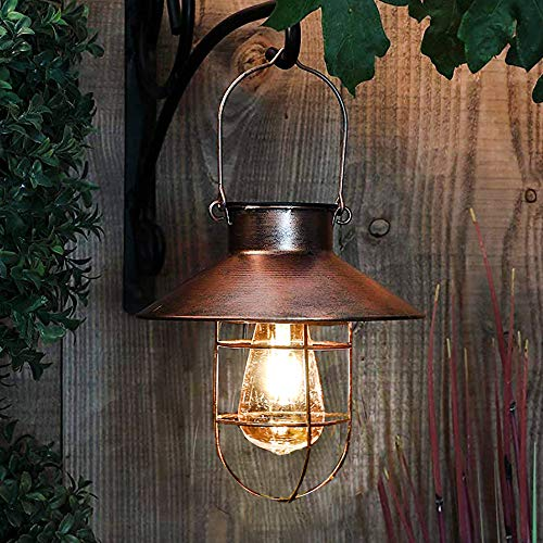 pearlstar Solar Lantern Outdoor Hanging Light Rustic Solar Lamp with Warm White Edison Bulb Design for Garden Yard Patio Porch Decor(Copper,)
