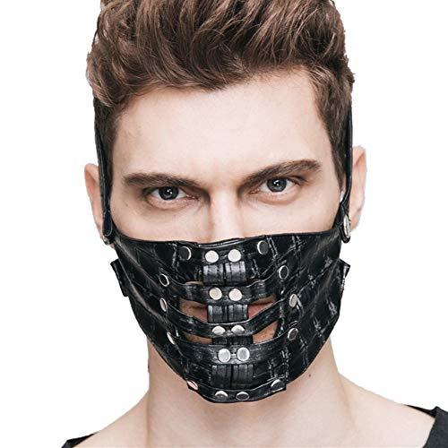 HYY-YY masker, decoratief, met klinknagels, personaliseerbaar, met accessoires voor cosplay, Halloween Zwart