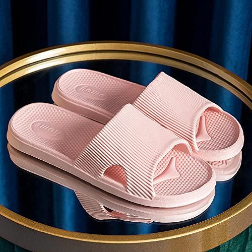 MDCGL BañO Zapatillas Sandalias de baño Antideslizantes Zapatillas Mujer Verano baño Interior Pareja Zapatos Hombres para jardín, Piscina Rosa EU39-40