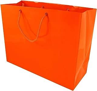 JAM PAPER Horizontal Glossy Gift Bags - Large - 13 x 5 x 10 - Orange - Sold Individually