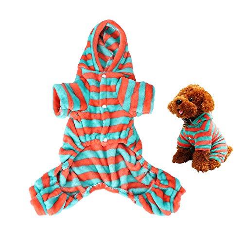 Pssopp Pet Winter pyjama Koraal Fleece Kat Hond Jumpsuit Groen Oranje Streep Huisdier Hoodies Warm Comfortabele Puppy Kitten Vier Voeten Kleding, L