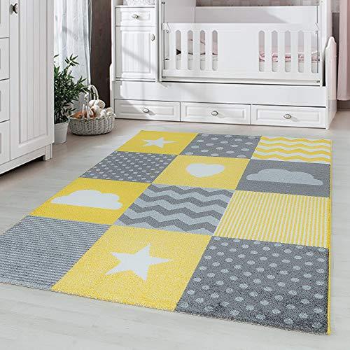 Kinderteppich Kinderzimmer Babyzimmer kariert Wolken Sterne Herz Grau Gelb Weiß, Maße:160 cm x 230 cm