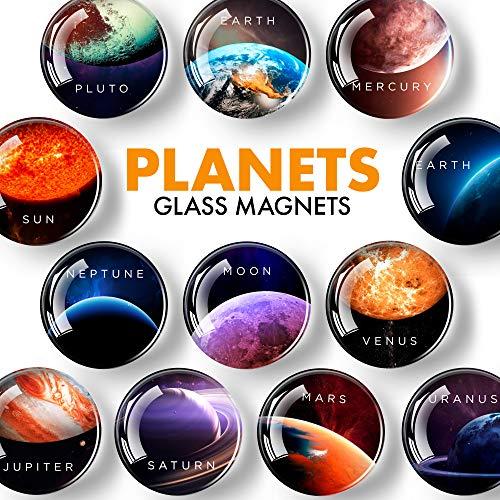 Planet Sonnensystem Magneten – Solar System Weltraum - Astronomie Magneten - Kühlschrank Magneten für Kinder – Planet Weltraum Magnet Set – Mini Magnete für Whiteboard – Magnete Kühlschrank – 12 St