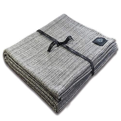 Craft Story Decke Yara I Uni schwarz-weiß, Salz und Pfeffer, aus 100% Baumwolle I Tagesdecke I Sofa-Decke I Überwurf I Bedspread I Plaid I Picknickdecke I Läufer I 170 x 220cm