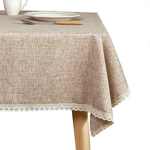 GLORY SEASON Mantel de lino rústico de arpillera lavable, color marrón de 55 x 94 pulgadas, con borde de encaje, para decoración de cocina, comedor, etc