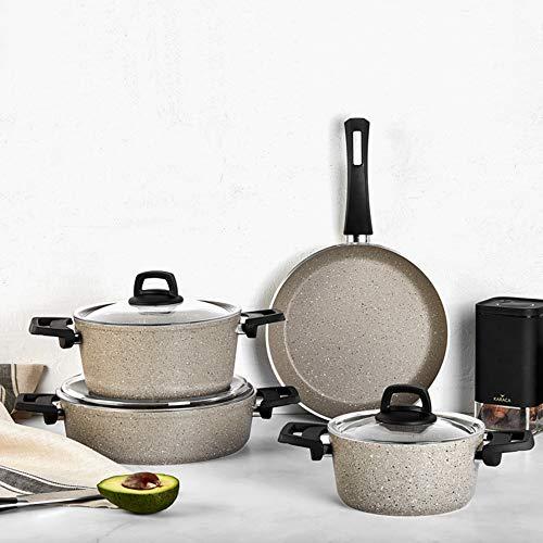 KARACA Grey Bio Granit 7-teiliges New Kochgeschirr-Set, Antihaftbeschichtung, Topf Pfannenset mit Glasdeckeln, Spulmaschinengeeignet, Granit