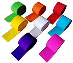 Party Rainbow Decorations Package includes: 8 rolls crepe paper streamers Width: 1.77 inch/ 4.5 cm; Length: 91.8 feet/ 28 m Package contains 8 rolls party streamer in assorted color: White, Blue, Green, Yellow, Red, Rose Red, Purple, Orange. NOTE: co...