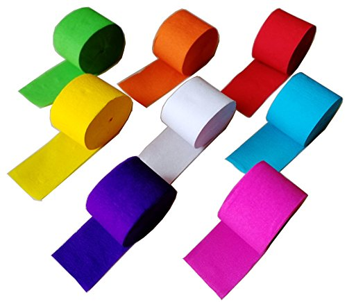 91.8 Feet Party Streamer Paper Decorations Crepe Paper for Birthday, Wedding, Concert and Various Festivals (8 Rolls)