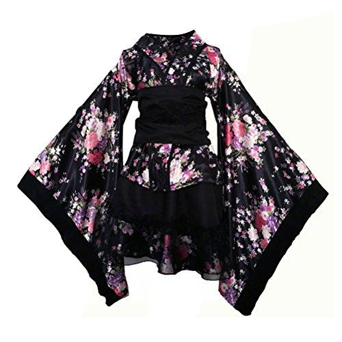 FENICAL - Disfraz de Mujer de Flores de Cerezo con Anime, Cosplay, Lolita, Disfraz japonés, Kimono, Disfraz de Halloween, Talla XXL (Negro)