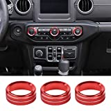 JeCar Air Conditioner Switch Knob Cover Aluminum Alloy Trim Cover for 2018-2021 Jeep Wrangler JL JLU & 2020 Jeep Gladiators JT, Red