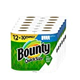 Bounty Quick-Size Paper Towels, White, 12 Family Rolls = 30 Regular...