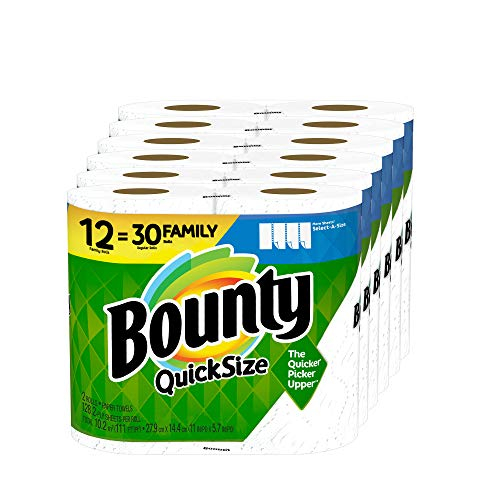 Bounty Quick-Size Paper Towels, White, 12 Family Rolls = 30 Regular Rolls (Packaging May Vary)