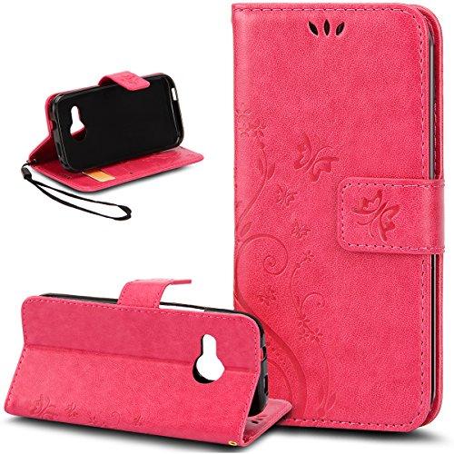Kompatibel mit HTC One M9 Hülle,HTC One M9 Hülle,Prägung Schmetterling Blumen PU Lederhülle Flip Hülle Cover Schale Stand Ständer Etui Karten Slot Wallet Tasche Hülle Schutzhülle für HTC One M9,Rose Red