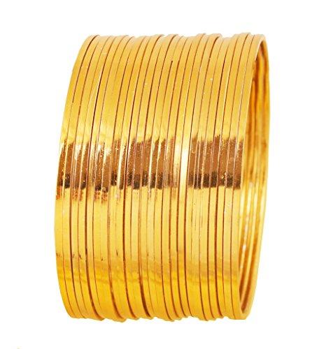 Touchstone Goldener Armband-Kollektion indische Bollywood-Wunsch Super Optik fein geschnittene Kanten Tango Tune Darstellung edlen Schmuck Designer-Armband-Armbänder Set von 24 in Goldton für Frauen.