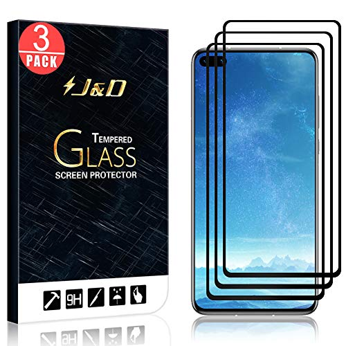 J&D Compatible for Huawei P40 Screen Protector, 3-Pack [No Lifted Edges] [NOT Full Coverage] Ballistic Tempered Glass Film Shield with Strong Edge Adhesive for Huawei P40 Screen Protector