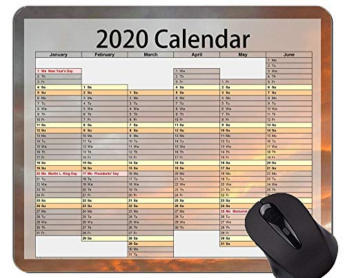 2020 Calendar Mouse Pad Anti-Slip,Sunset Sky Themed Mouse Pad with Stitched Edge