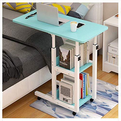 LDM Mesa de Cama con Ruedas Regulable en Altura 14cm, Escritorio para portátil en Forma de C, con estantes Double_Storage, Mesa Auxiliar para sofá Cama con Mueble para Oficina y hogar, (80 x 40c