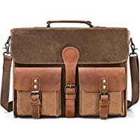 Newhey Waterproof Waxed Canvas Leather Laptop Briefcas