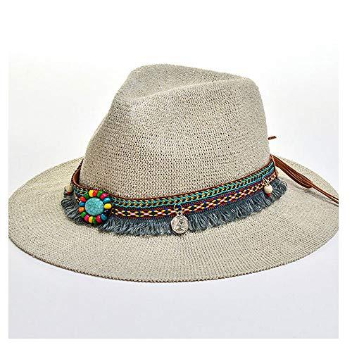 GAOERJI Mode Sommer Boho Stil Frauen Sonnenhut Dame breiter Krempe Jazz Hut Hut mit Stroh Vintage Hut Diskette Sun Beach Church Cap (Farbe : Tan, Größe : 56-58CM)