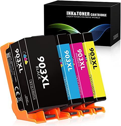 J-JIMIGO 903XL Sostituzione per HP 903 Cartucce di Inchiostro Multipack Compatibili con Stampanti HP Officejet 6950, HP Officejet Pro 6960 6970 (Nero, Ciano, Magenta, Giallo)