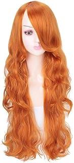 FHKGCD Cheveux Longs Ondulés avec Une Frange Inclinée Perruques Vertes Perruque Synthétique Perruque Cosplay Perruque pour...