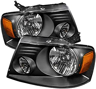 CARPARTSINNOVATE For Ford 04-08 F150 Lincoln 06-08 Mark LT Euro Black Clear Headlights Driving Lamps