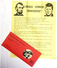 CIVIL WAR PRESIDENT ABRAHAM LINCOLN AND JOHN F KENNEDY COINCIDENCE AUTHENTIC REPRODUCTION ON HAND-FINISHED ANTIQUED PARCHMENT PAPER