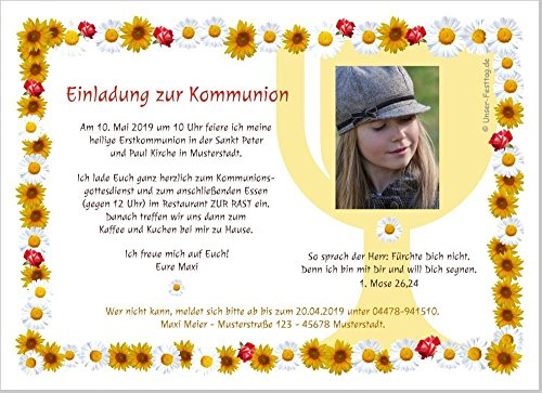 Kommunioneinladungen Blumen für Mädchen schön edel - mit FOTO (oder ohne) - Wunschtext - 100 Stück, 17 x 12 cm