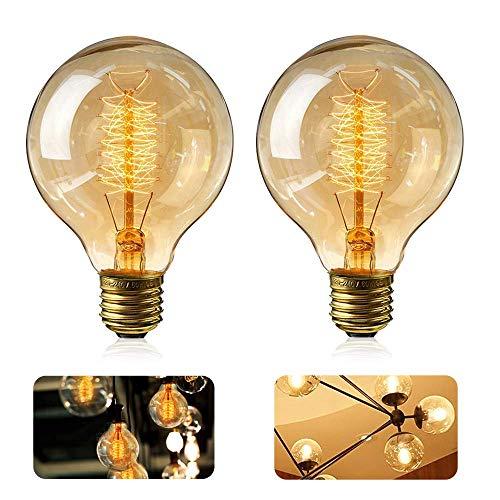 Gluehbirnen Vintage, 2 Stück Edison Vintage Glühbirne E27 40W Retro Glühbirne Antike Beleuchtung Globe Glühlampe Warmweiß E27 Nostalgie Lampe für Retro Beleuchtung im Haus Café Esstisch Industrie