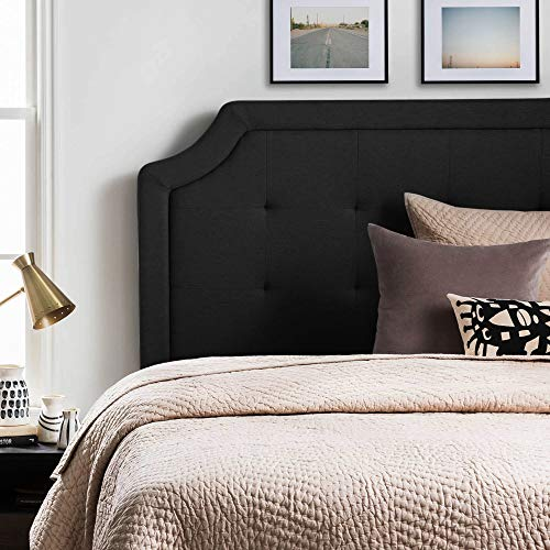 LUCID Bordered Upholstered Headboard with Square Tufting and Scalloped Edges Platform, Queen, Black