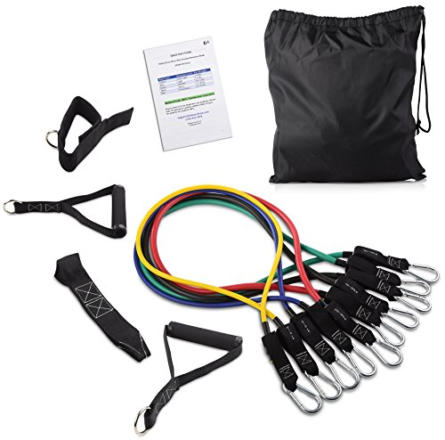 BalanceFrom Resistance Band Set - Include 5 Stackable Exercise Bands with...