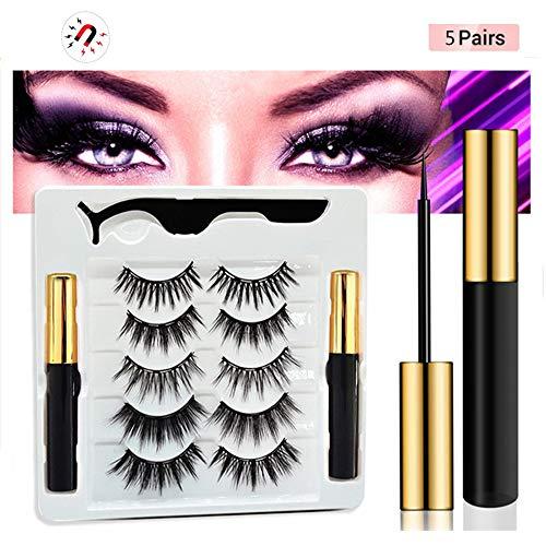 YUNSHAO Eyeliner Magnétique Et Kit De Cils Magnétiques Eyeliner Liquide, 5 Paires De Faux Cils Magnétiques Cils Imperméables,avec Une Pince À Épiler G