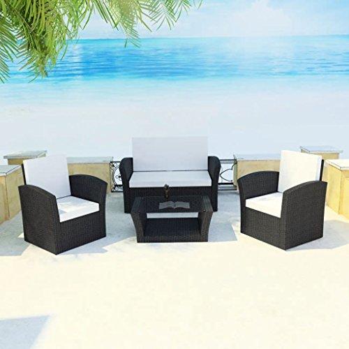 Lingjiushopping Lot de 10 canapés d'extérieur en rotin noir Matériau : structure en acier avec revêtement en poudre + rotin PE + plateau en verre