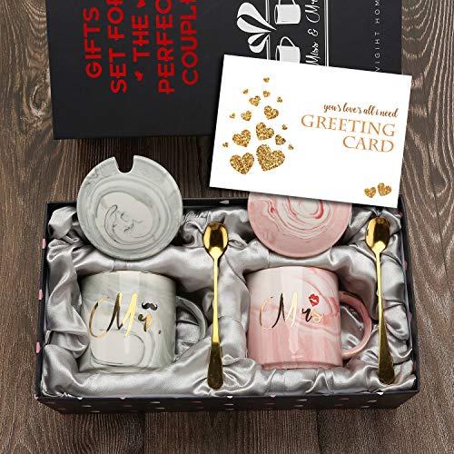 exreizst Tazas de café Mr and Mrs - Regalo de Boda para Regalo de Novia y Novio para Regalo de Compromiso de Despedida de Soltera Parejas Casadas -12 oz con Regalos (Round)