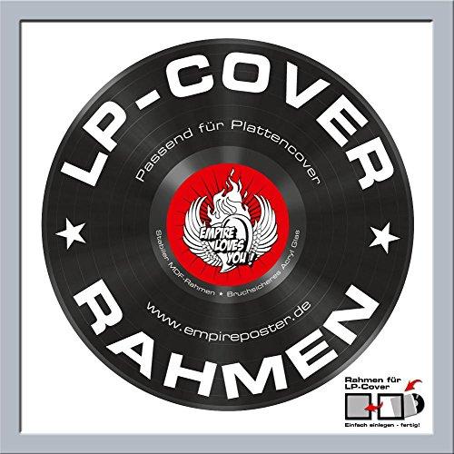 LP Schallplatten-Cover Rahmen - Rahmen Qualitäts-Wechselrahmen der Marke Empire® Frames Profil 15mm Kunststoff Silber Acrylglas-Scheibe - Außengröße 34,5x34,5 cm