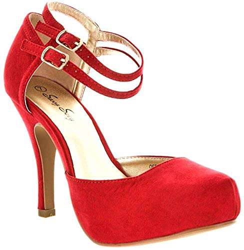 DREAM PAIRS OFFICE-02 Women's Classy Mary Jane Double Ankle Strap Almond Toe High Heel Pumps , OFFICE-02-RED-SUEDE, 8 B(M) US