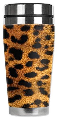 Mugzie ® MAX 20 ml tasse de voyage en acier inoxydable avec combinaison isotherme Motif Léopard Orange