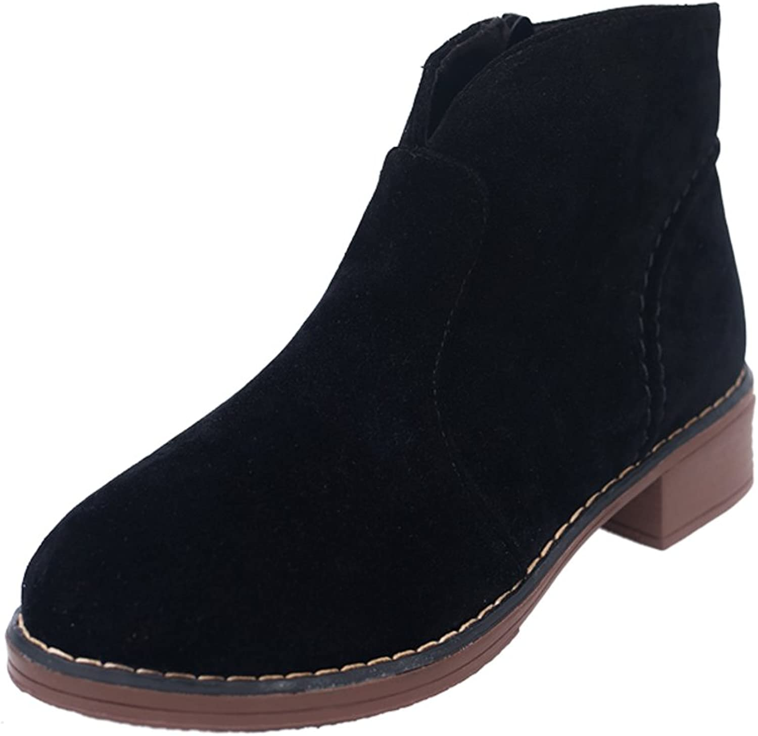 RHFDVGDS spring and autumn Lady boots Thicken Martin boots Fashion in Europe and wind bare boots high heel suede boots