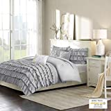 Intelligent Design Waterfall Comforter Reversible Solid Lush Ruffled Stripe Shabby Chic Ultra Soft Microfiber Down Alternative Pleated Decor Pillow Bedding Set, Twin/Twin XL, Grey, 4 Piece