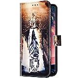 Uposao Kompatibel mit Samsung Galaxy A20S Hülle Handyhülle Bunt Retro Muster Klapphülle Flip Case Cover Schutzhülle Lederhülle Brieftasche Leder Tasche Kartenfächer Magnet,Katze Tiger