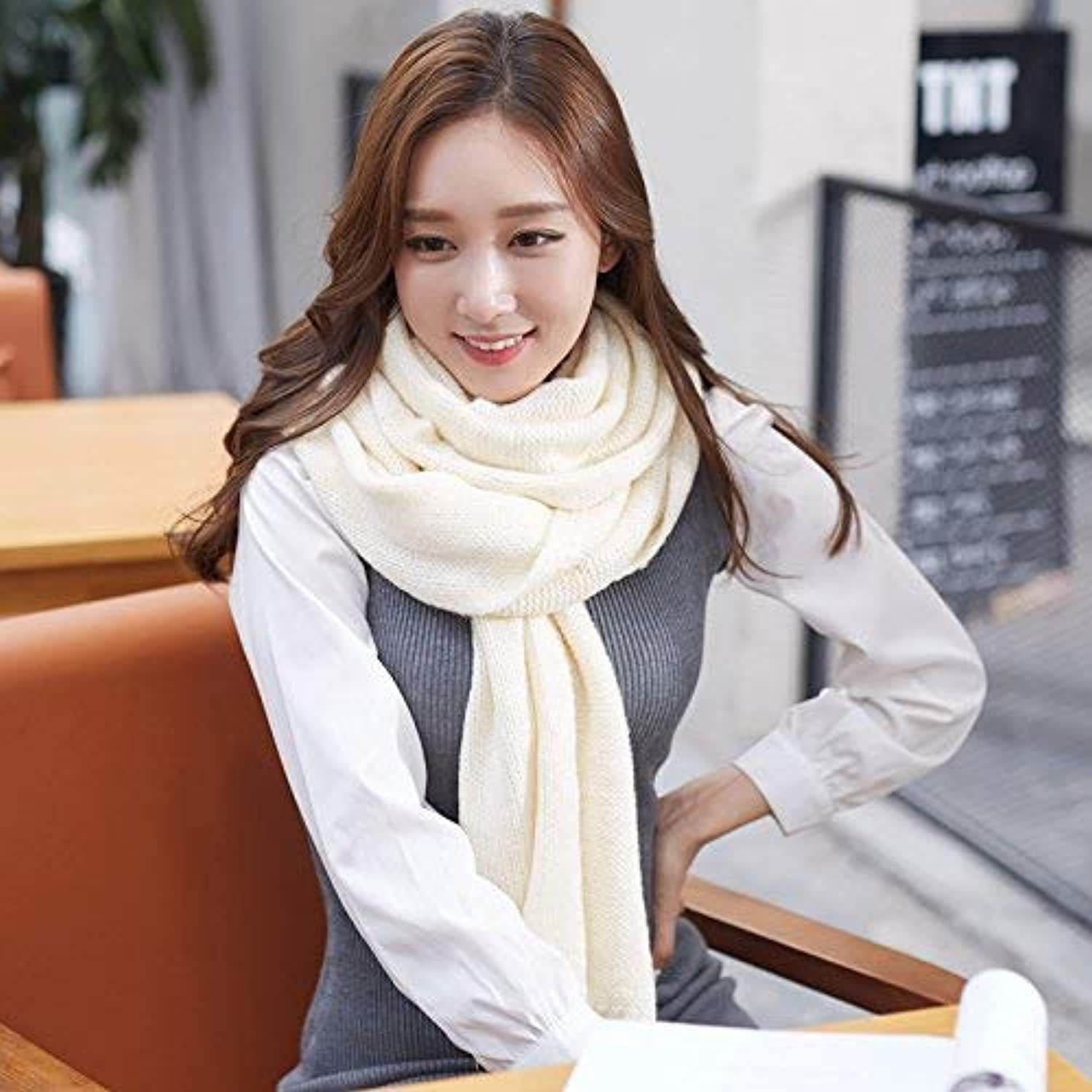 JINGB Home ScarfScarf Autumn Winter Pure color Knitted Scarf Imitation Cashmere Scarf Female Autumn and Winter Korean Students Knitted Shawl Long