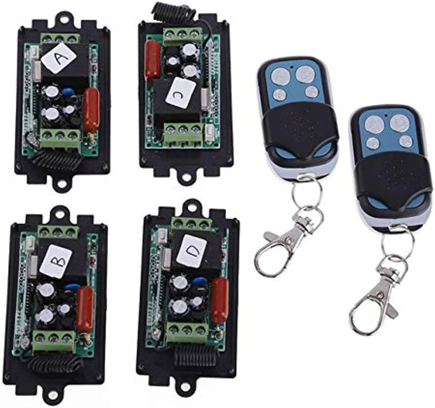 New Arrival Professional 4 x AC 220V RF Wireless Switch Relay Receiver 2 x 1CH Remote Controllers Remote Switch HR  (color  Black)